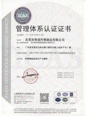 星辉注册2015版ISO质量认证证书